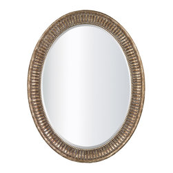 Sterling Industries - Franklin In Claros Bronze - The Franklin In Claros Bronze is a gorgeous mirror that has a wonderful stately feel.  This elegant design features an oval shape with a lovely distressed bronze color frame.  The frame also has a great detail of beading around the mirror, which has a bevel on it as well.