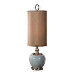 Retro Crackle Blue Ceramic Table Lamp - *Crackled light blue ceramic with brushed aluminum details.