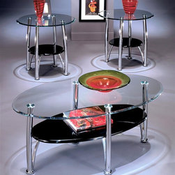 Signature Design by Ashley - 3 Pc Chrome & Glass Tables Set - Set includes Cocktail Table and 2 End Tables. Color/Finish: Black/Chrome. Welded metal construction. Clear beveled float glass tops. Polished black lacquered shelf. Some assembly reqiured. Coffee Table: 46 in. W x 28 in. D x 21 in. H. End Table: 26 in. W x 26 in. D x 25 in. H
