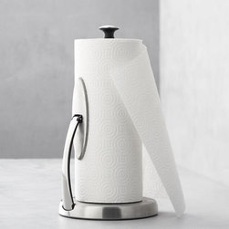 OXO® Spring Arm Paper Towel Holder - A handy spring-loaded arm accommodates any size roll and keeps it secure for tearing off a sheet with one hand.