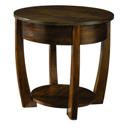 "Hammary - Concierge Round End Table in Medium Brown Finish - ""With its stunning new """"Concierge"""" collection, Hammary has thought of everything. No detail is too small, no convenience overlooked. Nothing spared to create some of the finest furniture on the market."