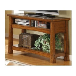 Riverside Furniture - Craftsman Home Console Table in Americana Oak Finish - Fixed bottom shelf