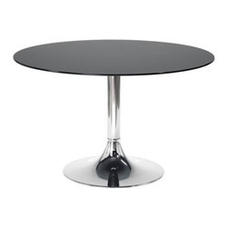 Domitalia - Corona-120 Round Table by Domitalia - The crowning touch to your contemporary dining room. The Domitalia Corona-120 Round Table has lines evocative of the famed Saarinen Tulip Table. It features a smoothly curved steel base topped by a round of tempered glass nearly four feet wide. Mix and match base finishes and top colors to create your perfect modern look. Domitalia prides itself--and its line of contemporary furniture--on being 100% Italian. All Domitalia furniture is designed and made in Italy. In-house production of their indoor and outdoor furniture designs allows Domitalia to experiment with innovative materials and processes and keep a tight rein on quality control. The resulting pieces are modern, comfortable and sensual in form, suitable for a range of residential and contract settings.