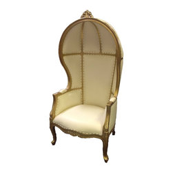 Solid Wood Canopy Chair, Gold/White - This antique production chair is made of solid mahogany wood, and carved by hand. The canopy or dome style chairs are ornately carved on the arms and the top of the chair.