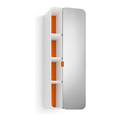 WS Bath Collections - 31.9 in. Bathroom Cabinet in White and Orange - Contemporary design. Three shelves. Mirrored door. Designer high end quality. Warranty: One year. Made from plywood and stainless steel. Made in Italy. 12 in. W x 8.1 in. D x 31.9 in. H (30 lbs.). Spec Sheet