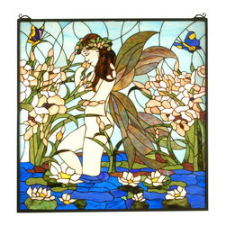 Meyda Tiffany - Meyda Tiffany Fairy Pond Stained Glass Tiffany Window X-12576 - From the Fairy Pond Collection, this Meyda Tiffany window features a beautiful design that blends a plethora of hues together, including aqua, cobalt blue, spring green and alabaster beige. The fairy, stopping to smell the flowers, has been complimented by botanical detailing and butterflies, fluttering peacefully in this serene scene.