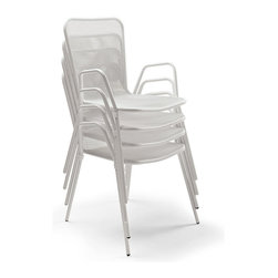 Frontgate - Outdoor Set of Four Vista Stacking Chairs, Patio Furniture - Crafted from powdercoated iron. Elegant white finish. Chairs are stackable for convenient storage. Resort and restaurant quality café furniture. An extraordinary value, our Vista Stacking Chairs are crafted from durable powder coated iron with an elegant white finish that withstands the elements. Chairs stack together and store neatly away.  .  .  . Resort and restaurant quality cafe furniture .