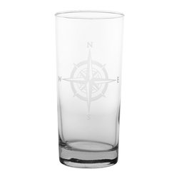 Rolf Glass - Compass Rose Cooler 15oz, Set of 4 - Tall and long and lovely, this set of glasses won't disappoint. You can use them for everything from lemonade to Mai Tai's. Made from cut glass. North, south, east or west, the elegantly etched compass will keep you centered.