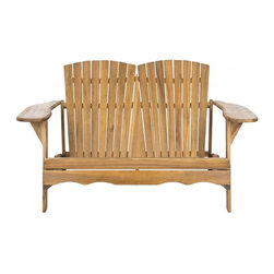 Safavieh - Hantom Bench - Nothing is more romantic than an Adirondack loveseat for watching sunsets, sipping cocktails or just enjoying conversation. Adapted from the original 1903 piece designed by Thomas Lee while he was vacationing in the Adirondack Mountains, the Hantom Bench has wide arms and comfy slant back that beckons. Crafted of sustainable acacia wood in natural finish with galvanized hardware, Hantom is destined to become a backyard favorite.
