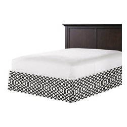 Black Velvet Flocked Trellis Custom Bed Skirt - With clean lines and crisp pleated sides and corners, our Tailored Bedskirt is the classic finishing touch for the sharp dressed bed.  We love it in this black velvet flocked trellis in on cream cotton that adds subtle texture and warmth to your room.
