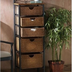 SEI 5-Drawer Wicker Storage Chest - The SEI 5-Drawer Wicker Storage Chest will bring a subtle elegance to any room. The charming wicker baskets give this storage chest the look and feel of a fresh afternoon in the Caribbean. Because they are wicker the baskets can keep towels fresh by allowing air to flow through. Ideal for kitchen or guest room storage. The various sized drawers make them ideal for linen sheets or any other necessities. The durable pipe frame is a lovely contrast with the wicker while allowing the wicker to be the focal point of the cabinet. The naturally finished solid upper shelf can be used for display space.