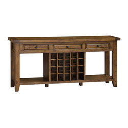 Hillsdale Furniture - Hillsdale Tuscan Retreat Sideboard with 20 Bottle Wine Storage in Antique Pine - Tuscan Retreat TM accent pieces are authentic artisan interpretations of old world and cottage furniture. Each piece is crafted from new and restored timbers to give it the appearance of a century old treasure. The finished are hand prepared from the sanding and scrapping to the final steps. Featuring solid wood throughout and old world cabinet construction. Every detail is designed to bring you years of enjoyment.
