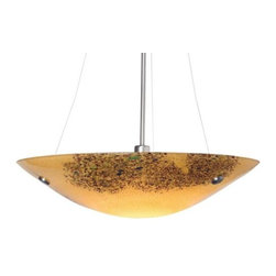 "LBL Lighting - Veneto Grande Suspension Bowl by LBL Lighting - The LBL Lighting Veneto Grande Suspension Bowl provides a delicious bowlful of vibrant Murano glass for modern interiors. It features a nearly two-foot wide glass bowl with delicate fused frit patterns and a generous smattering of silver flake. The hanging length of the Veneto Grande is field adjustable with the additional included stems.For more than 40 years, Illinois-based LBL Lighting has created innovative lighting fixtures based on the principles of beauty, originality and quality. Such values remain evident in their current line of fixtures, which feature distinctive elements like organic art glass, solid construction and the latest low voltage and LED lighting technology.The LBL Lighting Veneto Grande Suspension Bowl is available with the following:Details:Bowl-shaped Murano glass shade with frit patterns and inlaid silver flakeMetal frameRound ceiling canopySloped ceiling adaptable up to 45 degreesOne 12"" and 24"" stemEnergy efficient fluorescent option availableETL ListedOptions:Shade: Amber, Mocha, Opal, or Red.Finish: Bronze, or Satin Nickel.Lamping: Compact Fluorescent, or Halogen.Lighting:Compact Fluorescent option utilizes three 26 Watt 120 Volt Type G24Q-3 Quad Base Compact Fluorescent lamps (included).Halogen option utilizes one 250 Watt 120 Volt Type E11 minican Halogen lamp (included).Shipping:This item usually ships within 3 to 5 business days."