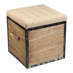 Zentique - Faye Stool - Think inside the box for style and storage. This cool stool, crafted of recycled limed oak and rustic burlap with a studded metal frame, makes a smart, unusual addition to your favorite eclectic setting.