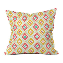 DENY Designs - DENY Designs Jacqueline Maldonado Zig Zag Ikat White Outdoor Throw Pillow - 1398 - Shop for Cushions and Pads from Hayneedle.com! The key to cool casual seating? The DENY Designs Jacqueline Maldonado zig zag ikat white Outdoor Throw Pillow. Crafted with water- and mildew-proof woven polyester this cushy square pillow boasts a pretty ikat print in shades of cream pink yellow and aqua. Toss it on your favorite chair or lounger indoors or out. Spot clean with mild detergent. Available in 18- and 20-in. sizes.About DENY DesignsDenver Colorado based DENY Designs is a modern home furnishings company that believes in doing things differently. DENY encourages customers to make a personal statement with personal images or by selecting from the extensive gallery. The coolest part is that each purchase gives the super talented artists part of the proceeds. That allows DENY to support art communities all over the world while also spreading the creative love! Each DENY piece is custom created as it's ordered instead of being held in a warehouse. A dye printing process is used to ensure colorfastness and durability that make these true heirloom pieces. From custom furniture pieces to textiles everything made is unique and distinctively DENY.