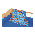 Room Magic - Boys Like Trucks Crib Set - Baby boys love this adorable designer fabric has a road and trucks of every kind. The 4 piece crib set includes bumper, solid crib sheet, crib comforter (print on top, solid on bottom) and gathered print crib skirt in the finest 100% cotton.
