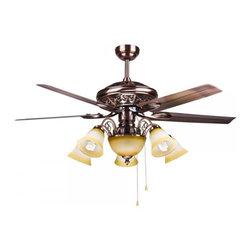ParrotUncle - Bedroom 4 Steel Blades 6 Lights Large Ceiling Fan - Bedroom 4 Steel Blades 6 Lights Large Ceiling Fan