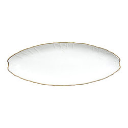 Anna Weatherley - Simply Anna Fish Platter Plate - This is a simply elegant collection featuring Anna Weatherley's signature shark's tooth gold banding. The collection works beautifully with all of Anna's lavishly decorated offerings.