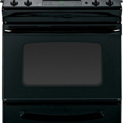 """GE - JSS28DFBB 30"""" Slide-In Electric Range with 4 Coil Elements  4.4 cu. ft. Oven Cap - The JSS28DF Electric Range from GE will be the perfect addition to your kitchen It has all the best features like coil heating elements 44 cu ft oven capacity audible preheat signal sabbath mode electronic clock with timer and digital temperature display"""