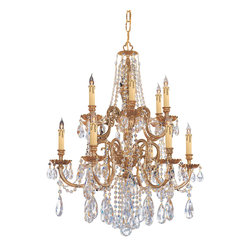 Crystorama - Crystorama Novella 2 Tier Chandelier in Olde Brass - Shown in picture: Ornate Cast Brass Chandelier Accented with Swarovski Spectra Crystal; The Novella Collection's Olde Brass finish and ornate designs make this European series a perfect fit for any traditionalist.