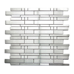 Eden Mosaic Tile - Modern Mixed Brick Pattern Mosaic Stainless Steel Tile, Sheet - If regular mosaic pattern feels ho-hum, you'll love the fresh feel stainless steel brings to the look. This lustrous mixed brick tile pattern will up the design ante in any space. Samples are approximately 1/6 to 1/4 of a regular sized sheet. Please note: Sample tiles are not returnable. Only one sample per style is allowed. Only five samples may be ordered.