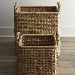 "Horchow - Large Seagrass Basket - Artisans in the Philippines hand weave natural seagrass around metal frames with wicker spokes to create these sturdy, multifunctional baskets. Small basket, 17""W x 14""D x 17""T. Large basket, 24.25""W x 18.25""D x 27.75""T."