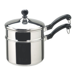 """Farberware Cookware - FW Classic 2qt Saucepan DblBlr - Classic Series 2 Quart Covered Saucepan with Double Boiler Insert... Candy makers love this double boiler. Non-reactive stainless steel allows you to whisk or stir in this 2-Quart size. The """"full cap"""" base has an aluminum core for even heating  and the stainless steel body offers lasting beauty.   """" Enjoy a lifetime of beauty; Close fitting lids create a self-basting feature that protects the food's taste and nutrients. Classically styled phenolic handles are oven safe up to 350 degrees F/180 degrees C; Durable stainless steel construction - dishwasher safe; Thicker  rolled pan rims for extra durability  enhanced drip-free pouring and easy handling.   ."""