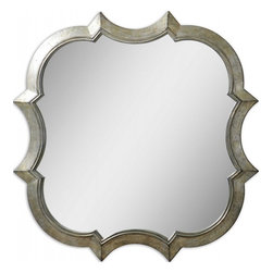 Uttermost - Farista Unique Antiqued Silver Mirror - Ornate and curvaceous, this frame features an antiqued silver finish with gray glaze and light champagne highlights.