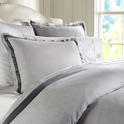 Linen with Silk Trim Duvet Cover, Full/Queen, Smoke Gray - Made of a refined linen blend with a silky flange, our bedding is equal parts luxurious and casual. Made of a linen/cotton blend. Duvet cover and sham reverse to cotton satin. Duvet cover has interior ties and a button closure; sham has an envelope closure. Duvet cover, sham and insert sold separately. Machine wash. Imported.