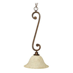 Craftmade - Scroll Large 1 Light Pendant in Peruvian Fini - Bulb Type: A-Type. Max Watt: 1x100W. Glass Finish: Antique Scavo. Height: 28.5 in.. Width: 12.0 in.. Size: 1 Lamp. Type of Fixture: Mini-Pendant. This fixture comes with 10' of chain and 12' of cord