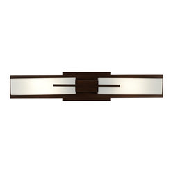 "Possini Euro Design - Possini Midtown 23 1/2"" High Bronze Bath Bar Light Fixture - Add a comforting contemporary look to your bath or vanity area with this white glass and bronze bath bar light fixture from the Possini Euro Design Midtown collection. Attractive and versatile transitional style wall fixture can be mounted vertically as shown or horizontally. Add one to each side of a bathroom mirror on the vertical or hang horizontally above the mirror. This chic light looks great in any direction. Bronze finish. White glass. ADA compliant.  Can be mounted horizontally or vertically. Takes two 60 watt T10 bulbs. 23 1/2"" high. 4 1/2"" wide. Extends 4"" from the wall. Backplate is 7 1/2"" wide 4 1/2"" high.  Bronze finish.   White glass.   Can be mounted horizontally or vertically.   Takes two 60 watt T10 bulbs.   23 1/2"" high.   4 1/2"" wide.   Extends 4 1/2"" from the wall.   Backplate is 7 1/2"" wide 4 1/2"" high.  Requires a 15"" clearance for re-lamping."
