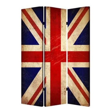 Union Jack Screen - Admit it — you're an Anglophile! So flaunt the flag while creating a sense of privacy with this three-panel canvas screen.