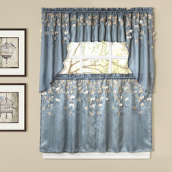 Lush Decor - Lush Decor Flower Drops Blue Tiered Curtain Pair - Transform your kitchen in an instant with this pair of Flower Drops tiers by Lush Decor. Made from the finest faux silk,each flower is laser cut and then complemented with intricate embroidery.