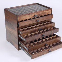 Fly Fishing Modular Display Case - Modular fly fishing storage and organization system.  Stackable and expandable modules stack together to form one complete unit.  Each module has two drawers with divided storage compartments.  Features full extension drawer slides, dovetail joinery, brass pin joinery, and oil rubbed bronze hardware.