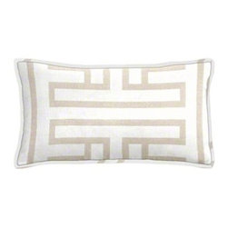 "Cushion Source - Ming Fret Taupe Lumbar Pillow - The 20"" x 12"" Ming Fret Taupe Lumbar Pillow features a geometric pattern in a pale taupe on an off-white background."