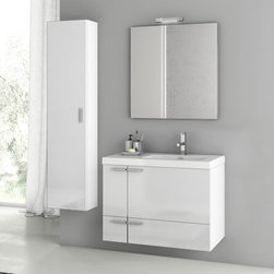 ACF - 31 Inch Glossy White Bathroom Vanity Set - Set Includes: Vanity Cabinet (2 Doors,1 Drawer), high-end fitted ceramic sink, wall mounted vanity mirror, tall storage cabinet. Vanity Set Features: Vanity cabinet made of engineered wood. Cabinet features waterproof panels. Vanity cabinet in glossy whit