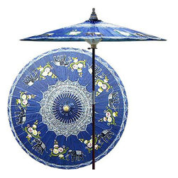 Oriental-Decor - Asian Elephants (China Sea Blue) Outdoor Patio Umbrella - This magnificent patio umbrella highlights a circle of Asian elephants, which symbolize strength, power and wisdom. Lovingly hand-made in Asia, where the elephant is the national symbol, this umbrella is the perfect way to enhance any outdoor area.