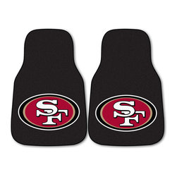 Fanmats - Fanmats San Francisco 49ers 2-piece Carpeted Car Mats - Protect your car flooring with these versatile carpeted car mats. With the San Francisco 49ers logo on a black background, showing your team spirit is easy. These durable nylon mats are designed for the front driver and passenger seats.