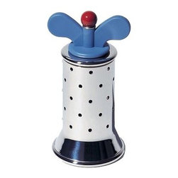 Alessi - Alessi | 9098 Pepper Mill - Design by Michael Graves, 1988.By Alessi.Pepper mill in 18/10 stainless steel, with fins in PA, light blue and red. It belongs to the family of objects created by the American designer Micheal Graves. This object appeared in the movie: Matrix (Matrix, L. e A. Wachowski, 1999).From the design series that grew from the iconic 9093 Kettle. Select Blue or White grind key.Delivered in gift packaging.