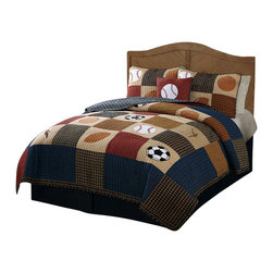 Pem America - Classic Sports Full / Queen Quilt with 2 Shams - Classic printed plaids with denim and clay accent colors in a hand crafted sports themed quilt. Embroidered and appliqued to show off your favorite team sport!  Hockey, football, baseball, soccer and basketball are all featured on this great kids bedding pattern for boys rooms. Hand crafted set includes: 1 full/queen quilt (86x86 inches) and 2 standard shams (20x26 inches). Face cloth and fill are 100% natural cotton. Prewashed for out of the bag comfort. Machine Washable.
