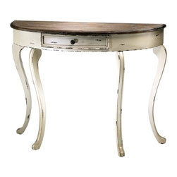 Cyan Design - Cyan Design Abelard Console Table X-47420 - From the Abelard Collection, this Cyan Design console table features a semi-circle top that sits flush against the wall for a slender, clean look. The body features curvilinear legs and shaping, which is complimented by distressing. The Gray top has been paired with a Distressed White finish, completing the look.
