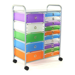 "4D Concepts - 15 Drawer Rolling Storage - Want the perfect storage unit? This 15 drawer rolling cart can add that needed storage to any room in the home. The 5 large (Inside dim 12""w x 14 1/8""l x 5 1/8"" h) and 10 (Inside dim 12""w x 14 1/4""l x 2 7/16) multi color foldable polypropylene drawers snap together with silver buttons and come with a silver railing around the top of the drawer. The silver colored finger pulls make it easy to pull the drawer in and out of the unit. The frame is made out of metal and is then powder coated to give it a very durable surface. The 15 drawers rest on a metal rail on the frame and come with a stop on the back side . The perforated metal top offers a sense of style to the top of the unit as well as additional storage. Rounding the top and having 2"" casters make this unit easy to move around the home. Clean with a dry non abrasive cloth. Assembly required."