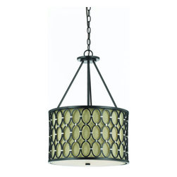 "AF Lighting - AF Lighting 8102-3H Candice Olson ""Cosmo"" Pendant with Silver Accents and Dark L - AF Lighting 8102-3H Candice Olson ""Cosmo"" Pendant with Silver Accents and Dark Linen Hard-Back Shade, Finished in Oil Rubbed BronzeAF Lighting 8102-3H Features:"