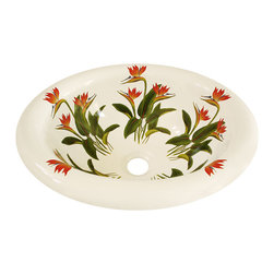 Decorated Porcelain Company - Bird of Paradise Hand Painted Sink, White - Brighten up your bathroom with these tropical Bird of Paradise flowers in shades of red and tangerine orange with vivid green leaves on a white rolled edge drop-in sink. All of our fixtures are hand-made to order in the USA and kiln-fired for long-lasting durability.
