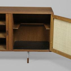 Arne Vodder Teak Sideboard with Tambour Doors - Vintage 1960s Danish Teak Sideboard by Arne Vodder
