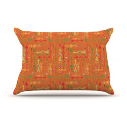 """Kess InHouse - Jane Smith """"Vintage Arrows"""" Yellow Orange Pillow Case, King (36"""" x 20"""") - This pillowcase, is just as bunny soft as the Kess InHouse duvet. It's made of microfiber velvety fleece. This machine washable fleece pillow case is the perfect accent to any duvet. Be your Bed's Curator."""