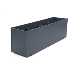 "Loll Designs - Mondo Quad Planter 50 Gallon, Charcoal Grey - Loll Mondo Collection was designed to indulge the reveries of your green space. Sometimes we dream big - and bigger - so this collection is available in single, double, triple, quad and quint sizes. We ship these modern planters flat because two groove tracks give you the custom option to build the planter floor at the base or halfway up. Have fun thinking outside the ""planter box""!"