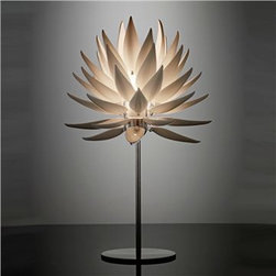 20012 - Jeremy Cole Aloe Blossom Table Lamp - This beautiful botanical lamp is crafted from bone china, an unexpected and elegant choice that adds to the wonder of this glowing sculpture.