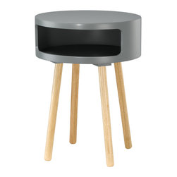 "Adesso Inc. - Collins Accent Table - Grey round bent plywood table with four round natural wood legs. The table top's wide opening provides lots of room for storage, while serving as a great decorative accent or end table. 22"" Height, 16"" Diameter. Table top: 6"" Height (Front opening: 4"" Height, 13"" Width). Legs: 15.75"" Height, 1.25"" Diameter."