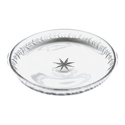 Monaco Engraved Plate- Small - Marvelous and diminutive, contrasting dainty decoration and size with a weighty old-world look conveyed by substantial glass, the round Monaco Engraved Plate makes dinner rolls elegant and small desserts glamorous.� Lifting the contents reveals a vintage-inspired etched star at the center of the luxury clear glass bread plate.� Two sizes are offered in this elegant plate; this is the smaller version.